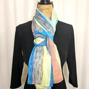 2 Chic Turquoise Black Yellow Super Soft Scarf